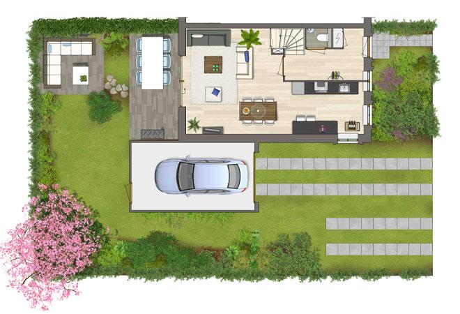 Ingekleurde gemeubileerde plattegronden pi3d visualisaties for Huis ontwerpen 3d